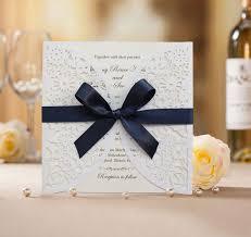 royal blue ribbon wedding invitation bh2065 white laser cut wedding invitation with