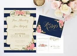 printable wedding invitation bundle stripe floral invite