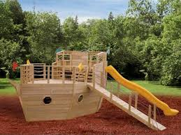 Building A Backyard Playground by Fun Rooms Awesome Pirate Ship Shaped Dark Red Old Style Painted