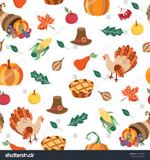 colorful seamless pattern thanksgiving symbols turkey stock vector