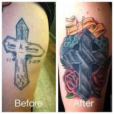 deft studio tattoos color color cross cover up