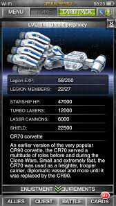cr70 corvette thoughts legion starship choice app