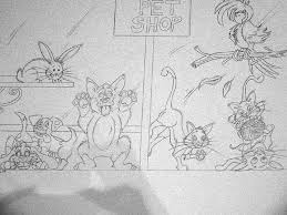 artists helping children very cute pet store mural sketch with