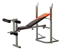 Marcy Diamond Olympic Surge Bench Standard Weight Bench Unique Design With Barbell Bench