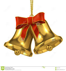 3d gold bells with red ribbon and bow stock illustration image