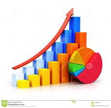 growing chart growing bar graphs and pie chart stock illustration illustration