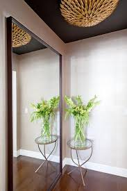 Foyer Accent Table Foyer With Black Ceiling And Gold Pendant Contemporary