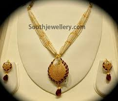 necklace pendant designs gold images Pearls mala with gold pendant set jewellery designs jpg