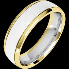 mens rings com images Mixed finish courted mens ring in 18ct white yellow gold png