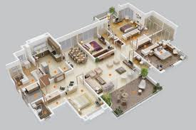 Interior House Drawing 4 Bedroom Apartment House Plans