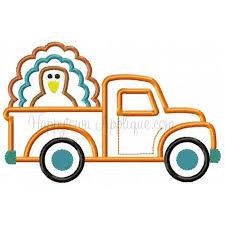 Thanksgiving Appliques Turkey Truck Applique Design