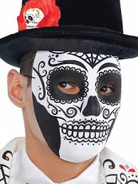 Skeleton Mask Day Of The Dead Male Skull Mask Partynutters Uk