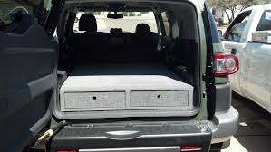 finish product of suv custom built bed platform with two drawers