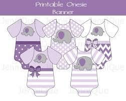 purple elephant baby shower decorations printable elephant onesie banner onesie bunting girl baby shower