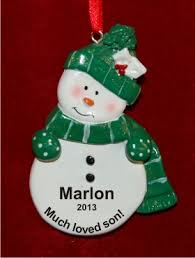 green snowman for personalized ornaments by