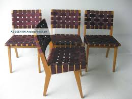 knoll webbed birch side chair set by jens risom mid century modern