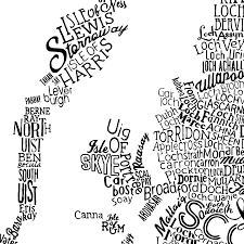 Map Of British Isles Typographic Map Of Great Britain By Run For The Hills