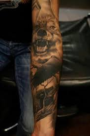 crows and wolf on sleeve tattoos