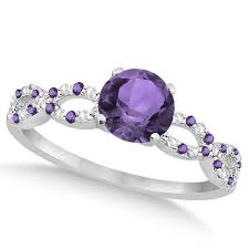 infinity engagement rings diamond amethyst engagement ring 14k white gold 1 05ct