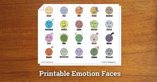Grief Worksheets Printable Emotion Faces Worksheet Therapist Aid