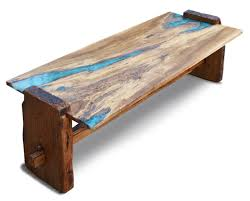 custom live edge rustic oak with turquoise inlay coffee table by