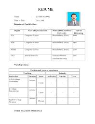 Teacher Job Resume Format Model Resumes Resume Cv Cover Letter
