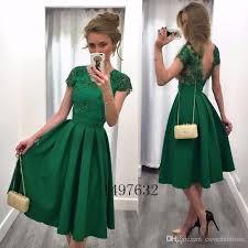 elegant green cocktail dresses 2017 cap sleeve backless knee