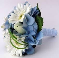 Wedding Flowers Blue Wedding Bouquets With Hydrangeas And Daisies White Gerbera