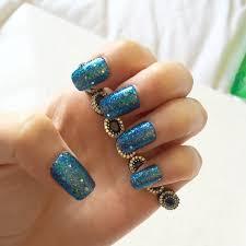 galaxy blue glitter fake nails glue on gel nails press on