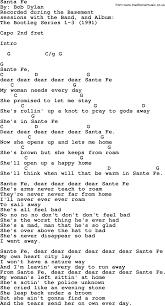 The Basement Lyrics Bob Dylan Song Santa Fe Lyrics And Chords