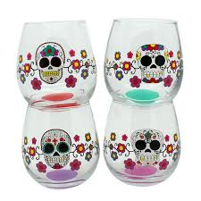 cartoon wine glass day of the dead glass stemless wine glasses set of 4 sugar skulls