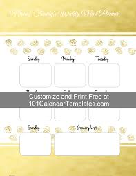menu planners templates weekly planner with gold stamps free printable menu planner with grocery list