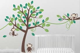 Nursery Monkey Wall Decals Tree Monkey Decal Jungle Tree And Branch Sticker Nursery Tree