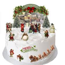 traditional vintage victorian christmas stand up scene made from