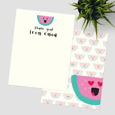 watermelon emoji thank you stationery thank you cards pixie