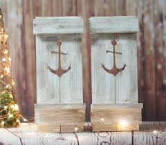 two nautical anchor pallet wall sconce beach house decor sconce