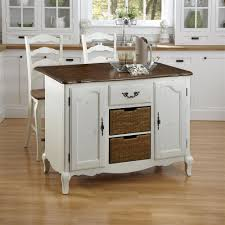 buy oak and rubbed white kitchen island and two stools