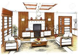 an artist u0027s simple sketch of an interior design of a living room