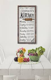 Kitchen Wall Art Decor by Personalized Kitchen Sign Open Hours Kitchen Wall Decor