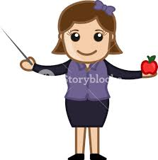 teacher with stick and apple cartoon character royalty free