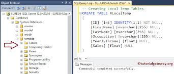 sql server create table syntax temp table in sql server