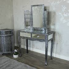 monique range silver mirrored dressing table and triple mirror