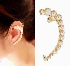 clip on earring women pearl clip earring moon shape golden plate with ear ear