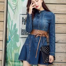 blue denim dress womens clothing slim autumn casual cowboy