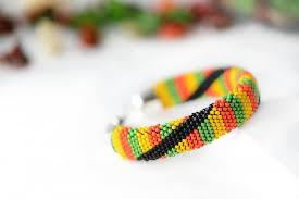 beaded bracelet crochet images Bead crochet bracelet quot rastafarian quot beaded bracelet jamaican jpg