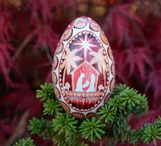 egg ornament nativity pysanka egg in burgundy and goose egg ornament with
