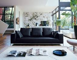 Living Room With Black Leather Furniture by Black And White Room Decor For Masculine Look U2013 Light Blue And