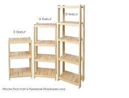 Narrow Bookcase Solid Wood Bookshelf Size Narrow 19 Inch Width