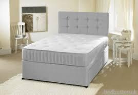 grey fabric divan bed set memory mattress headboard 3ft 4ft