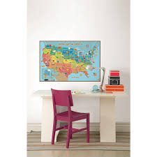 wallpops 24 in x 36 in kids usa dry erase map wall decal wpe0623 kids usa dry erase map wall decal